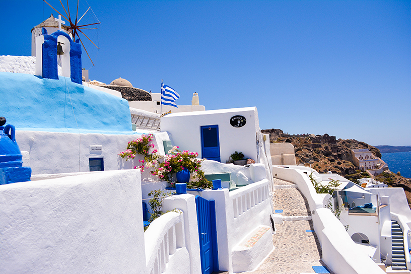 santorini blue and white buildings in greece